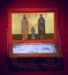 Relics box for the saints Rafail, Nicholas and Irene fom Lesvos